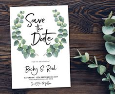 Natural botanic greenery wedding save the date card with eucalyptus leaves. Perfect for a garden, boho or spring wedding!