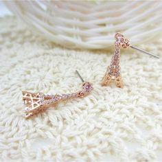 Gold Plated Paris Eiffel Tower earrings