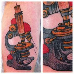 Microscope tattoo by Karrie Arthurs