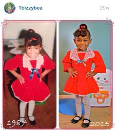 I had to recreate this! 27 years in the making!! Me as a little girl and June in my old dress!! I saved this for my future daughter and was so excited when she could finally fit it!
