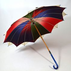 Not A Cloud In My Sky Vintage 30's 40's Rainbow Ombre Parasol Umbrella by ManyAMoonVintage, $115.00