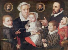 Portrait of a family: parents with their children and ancestors, 1577 (oil on panel) Menton d'Alkmaar, Frans (c.1550-1615) (attr. to...