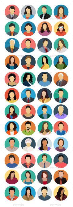 40+ Avatars Flat Icons — Vector EPS #company avatars #female avatars • Available here → https://graphicriver.net/item/40-avatars-flat-icons/10642662?ref=pxcr