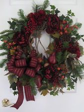 BURGUNDY HOLIDAY WREATH-Fall Thanksgiving Christmas Decorations-FREE SHIPPING!