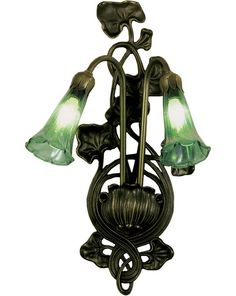 11 Inch W Green Pond Lily 2 Lt Wall Sconce - 11 Inch W Green Pond Lily 2 Lt Wall SconceVictorian romance comes to light with graceful LilyGreen Iridescent blown glass shades attached to a decorative Lily pad fixture. This exquisite sconce is complemented with a stunning Mahogany Bronze finish. Theme: Product Family: Green Pond Lily Product Type: WALL SCONCES Product Application: TWO LIGHT Color: GREEN IRIDESENT Bulb Type: CNDL Bulb Quantity: 2 Bulb Wattage: 15 Product Dimensions: 17H x 11W x…