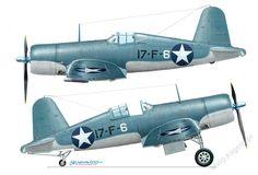 Corsario F4U-1 (BuNo desconocido) codificado 17-F-6 de la FV-17, como se veía en las calificaciones de transporte a bordo de USS cargador (CVE-30); el Atlántico, febrero de 1943. VF-17 se formó en enero de 1943 en Norfolk NAS como el segundo (después de VF-12) Corsair escuadra de la Armada de Estados Unidos. Entró en combate en las Salomón a finales de octubre de 1943, equipado con el modelo F4U-1A más reciente. [Pintado por Zbigniew Kolacha]