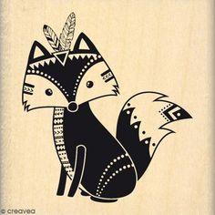Tampon Bois Boho fox - 6 x 6 cm - Photo n°1