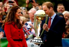 4/14/14 William & Kate in Christchurch, New Zealand, to watch & participate in a 2015 Cricket World Cup event...receiving the trophy.