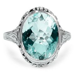The Ibis Ring from Brilliant Earth - Gorgeous antique aquamarine engagement ring from the 1930's!