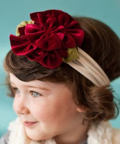 Another great find on #zulily! Ivory & Red Sleigh Ride Flower Headband #zulilyfinds