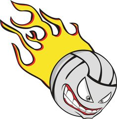 sports clipart image of mean volleyball with face graphic rh pinterest com  free flaming volleyball clipart