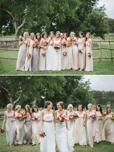 mismatched bridesmaid dresses  http://www.weddingchicks.com/2014/01/24/true-love-texas-wedding/