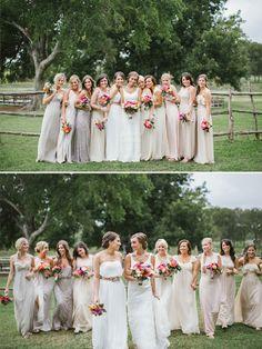 mismatched bridesmaid dresses  http://www.weddingchicks.com/2014/01/24/true-love-texas-wedding/