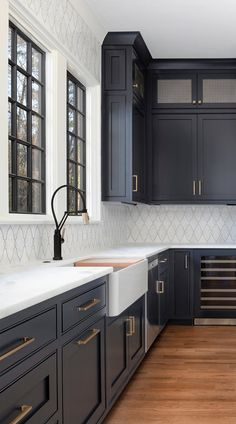 5 Hottest Kitchen Trends in 2020 & and how to keep your new kitchen relevant in this decade! Greige, black and green cabinets, matte black& The post 5 Kitchen Trends for 2020 & Keeping Your New Kitchen Relevant appeared first on Ajwa Homes. Dark Grey Kitchen Cabinets, Painting Kitchen Cabinets, Kitchen Cabinet Design, Green Cabinets, White Cabinets, Kitchen Backsplash, Kitchen Sinks, Dark Cabinets White Backsplash, Marble Kitchen Countertops