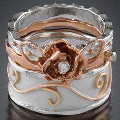 14k rose gold, sterling silver, diamonds