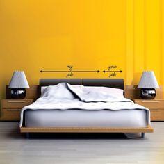 """Adesivo Murale - My side, Your side è perfetto per decorare il letto, il tavolo da pranzo o l'ufficio.  Adesivo murale di alta qualità con pellicola opaca di facile installazione. Lo sticker si può applicare su qualsiasi superficie liscia: muro, vetro, legno e plastica.  L'adesivo murale """"Frase Piccolo Principe"""" è ideale per decorare camere da letto. Adesivi Murali."""