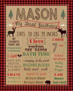 Lumberjack First Birthday Chalkboard poster DIGITAL FILE by HaleyMadisonDesign on Etsy https://www.etsy.com/listing/291211563/lumberjack-first-birthday-chalkboard