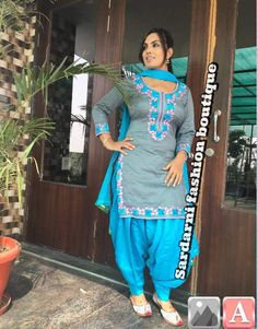 For colour combination Punjabi Salwar Suits, Designer Punjabi Suits, Punjabi Dress, Indian Designer Wear, Salwar Kameez, Patiala Dress, Pakistani Dresses, Embroidery Designs, Embroidery Suits Design