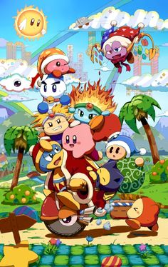 every kirby character wants to get on king dedede Nintendo Characters, Video Game Characters, Metroid, Yoshi, Videogames, Kirby Nintendo, Kirby Character, Video Game Companies, Meta Knight