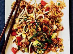 Why go out to a restaurant when you can make this Asian favorite at home? Almost Classic Pork-Fried Rice, with its fresh bean sprouts and diced water chesnuts, is a fresh and healthy alternative to the original.View Recipe: Almost Classic Pork Fried Rice Rice Recipes, Asian Recipes, Healthy Recipes, Ethnic Recipes, Meal Recipes, Leftover Pork Recipes, Leftover Rice, Cooking Light Recipes, Kitchens