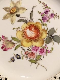 Carl Teichert,  Meissen Porcelain Pierced, Reticulated Dessert Plate, circa 1880s. Elegant Desserts, Tea Set, Wild Flowers, Rooster, Porcelain, Bouquet, Hand Painted, Shapes, Painting