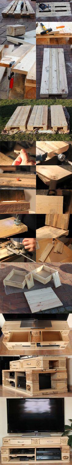 Mueble para la TV con palés / Vía scheerereien.blogspot.com  #pallets #reciclando #handmade