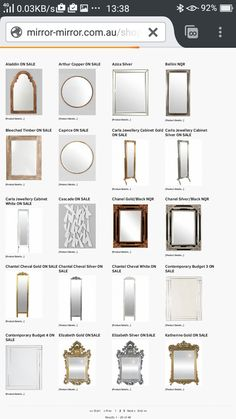 Mirror mirror, Hoddle Str, Collingwood. My favourite place. So many contempary mirrors. Retailer also provides mirror selection advise