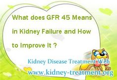 What does GFR 45 means in kidney failure and how to improve it ? You know, GFR is one of the indicator of kidney disease, it means a lot for kidney disease patient.