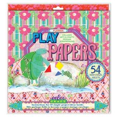 These patterned papers, bright and bold, are just the thing to cut and fold! Collage? A snowflake? Fold a crane? Be creative! Stretch your brain!