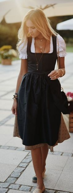 Nina Suess Romantic Fall Outfit Idea... If all black dress. Want to put something together like this for Oktoberfest ❤️ Casual Black Dress Outfit, All Black Dresses, Dress Black, Oktoberfest Clothing, Oktoberfest Outfit, Romantic Fashion, Romantic Outfit, Black Apron, Drindl Dress