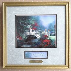 Thomas Kinkade BROADWATER BRIDGE Framed Matted Print Certificate Of Authenticity