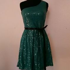 One shoulder dress by Lily Rose Blue-green sequined mini dress with black ribbon belt. Lined and strechy. Size large but to me fits like a medium.  Good condition. Lily Rose Dresses Mini