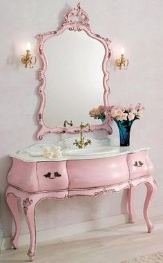 """If I ever get my grandmother's bedroom furniture I am thinking about pink and white for my """"FUTURE"""" guest room."""