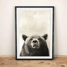 Bear Print Wall Ideas grizzly bear art Woodlands Decor by shakarts