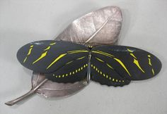 1 of 4 : David C. Freda Silver and Enamel Contemporary Butterfly and Leaf Brooch L2BDE