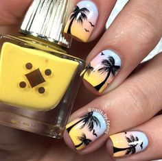Summer nails palm tree nails nails art - tree nail art, palm tree nails e. Cute Nails, Pretty Nails, Palm Tree Nail Art, Tropical Nail Designs, Tropical Nail Art, Beach Nail Art, Nagellack Design, Vacation Nails, Nail Art Designs