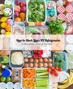 See how easy it is to organize your RV fridge and enjoy a weeks worth of comforting home cooked meals on the road -- via GoRVing.com // J5MM.com  Refrigerator Organization | Stock your RV Refrigerator | RV Refrigerator | Meal Planning | Road Trip Meal Planning