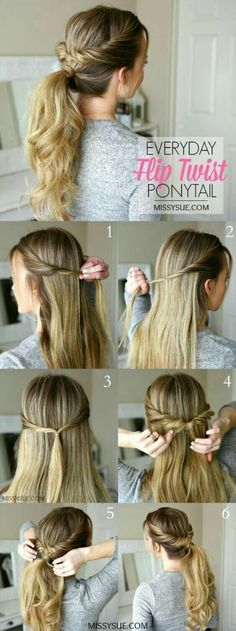 Hair long updo easy quick hairstyles 48 ideas - Easy braids for medium hair - Quick Hairstyles, Straight Hairstyles, Braided Hairstyles, Easy Everyday Hairstyles, Simple Ponytail Hairstyles, Simple Hairstyles For School, Simple Hairdos, Ponytail Hairstyles Tutorial, Easy Hairstyles For Medium Hair