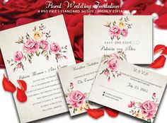 Floral Wedding Invitation — Photoshop PSD #pink flower #reception • Available here → https://graphicriver.net/item/floral-wedding-invitation/9562922?ref=pxcr