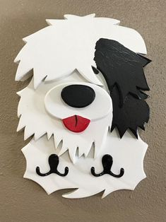Old English Sheepdog leash collar holder key coat rack hanging towel hooks OES wooden picture Small Wood Projects, Projects To Try, English Sheepdog Puppy, 3d Laser Printer, Hanging Towels, Towel Hooks, Wood Craft Patterns, Dog Leash Holder, Puppy Birthday