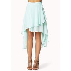 FOREVER 21 Tiered High-Low Skirt ($12) ❤ liked on Polyvore featuring skirts, bottoms, bottoms - skirts, mint, green hi low skirt, mullet skirt, short in front long in back skirt, mint green skirt and tiered ruffle skirt