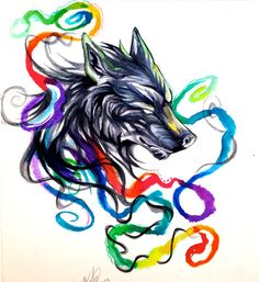 Infused+by+Lucky978.deviantart.com+on+@deviantART #watercolor #wolf #wolves