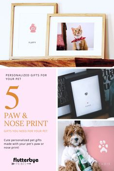 These personalized pet gifts are so cute and are made with your pet's actual paw print!  This gift is perfect for dog owners or cat owners who are obsessed with their pet and want a unique memorial to treasure always.  This keepsake gift is so easy to make you only need a photo of your pet's paw or nose.  Custom pet gifts are truly meaningful and any pet owner will be so touched. #personalizedpetgifts #custompetgifts #doggiftsforpeople #uniquedoggifts #catgiftsideas