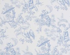 Pierre Frey Ouistitis and Co Toile Wallpaper, Wallpaper Samples, Pierre Frey, Bath Girls, Made To Measure Curtains, Blue Wallpapers, Color Of Life, Girl Room, Baby Room