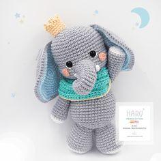 Crochet Elephant Pattern, Crochet Animal Patterns, Crochet Doll Pattern, Stuffed Animal Patterns, Crochet Patterns Amigurumi, Crochet Dolls, Crochet Diy, Crochet Crafts, Double Crochet Decrease