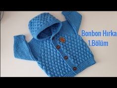 Bonbon Candy Hooded Cardigan Model Part 1 - Kindermode Cardigan Bebe, Knitted Baby Cardigan, Toddler Sweater, Hooded Cardigan, Crochet Poncho, Baby Knitting Patterns, Crochet For Kids, Crochet Baby, Knitted Hats Kids