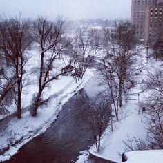 Monocacy Creek in Bethlehem, PA during a snowfall.
