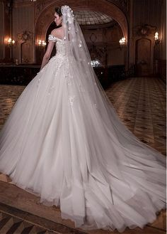 07aaf79c12 Buy discount Junoesque Tulle Off-the-shoulder Neckline Ball Gown Wedding  Dress With Lace