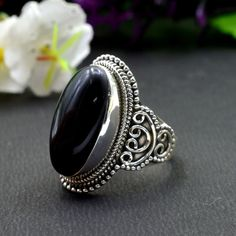 925 Solid Sterling Silver Black Onyx Gemstone Handmade Mens Ring Size 9.25 US #Handmade #Cluster #Party