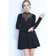 Black Long Sleeve Contrast Lace High Neck Flare Dress | pariscoming